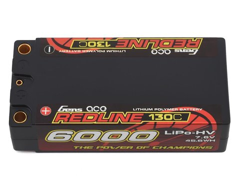 Gens Ace Redline 2S 130C LiHV Battery Pack w/5mm Bullets (7.6V/6000mAh)