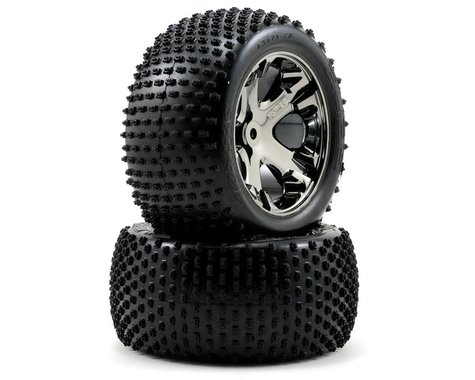 Traxxas Alias Rear Tires w/All-Star Wheels (2) (Black Chrome) (Standard)