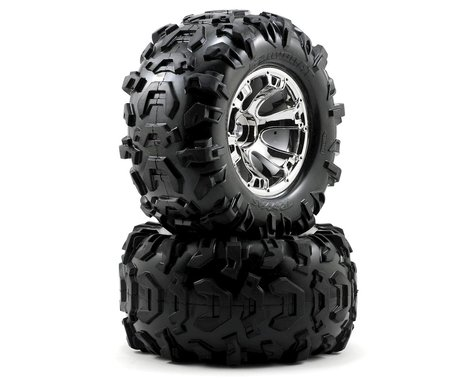 """Traxxas Canyon 3.8"""" Pre-Mounted Tires w/Geode Wheels (2) (Summit) (Chrome)"""