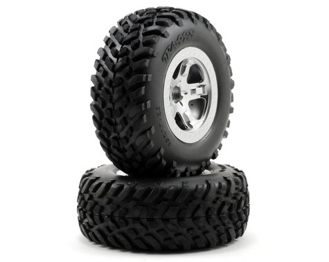 Traxxas 2.2/3.0 Tire w/SCT Front Wheel (2) (Satin Chrome) (Standard)