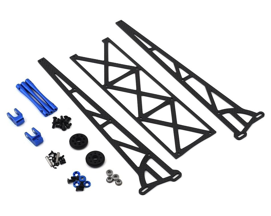 DragRace Concepts 10 inch Slider Wheelie Bar with Plastic Wheels (Blue) DRC-390-0002